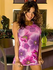 Hot Latina Ass in Floral Purple Dress