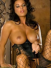 Big Tits in Lace Corset and Fishnet Stockings